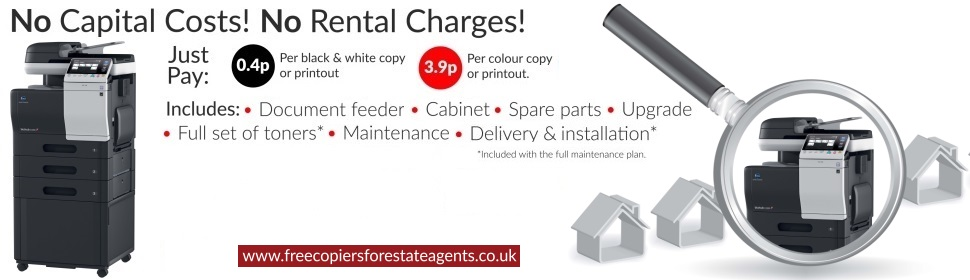 Free Copiers For Estate Agents, Pay For Copies Only, Free Consumables, No Hidden Charges
