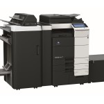 Konica Minolta Bizhub C754e Colour Copier with Document Feeder Finisher Stapler Saddle Kit and Large Capacity Trays