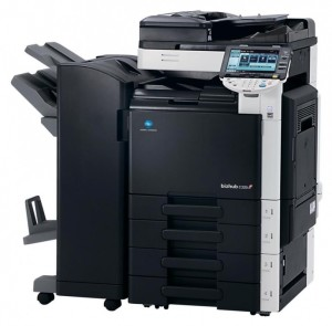 Konica Minolta Bizhub C220 Colour Copier with document feeder finisher and trays