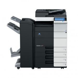 Konica Minolta Bizhub C454 Copier with document feeder finisher and trays