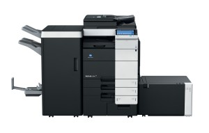 Konica Minolta Bizhub C754 Copier with document feeder finisher large capacity trays